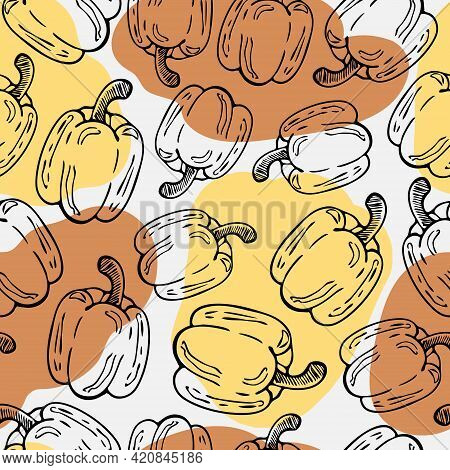 Bulgarian Pepper Seamless Vector Pattern. Hand-drawn Vegetable Outlines And Color Spots For Fabric D
