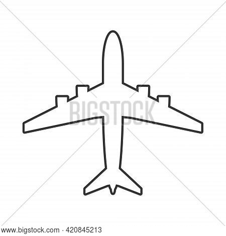 Airplane Symbol. Airport Sign. Aviation Icon. Flat Aircraft Shape Logo. Black Silhouette. Isolated O