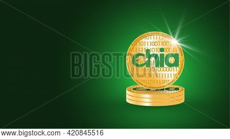 Banner With Gold Coins Of Cryptocurrency Chia On A Green Background. Concept Of Mining Currency. Fin