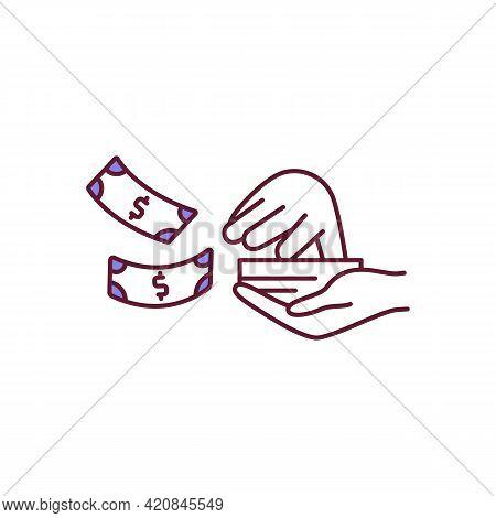 Compulsive Money Spending Rgb Color Icon. Shopaholism Problem. Purchase With Cash. Wealthy Person. F