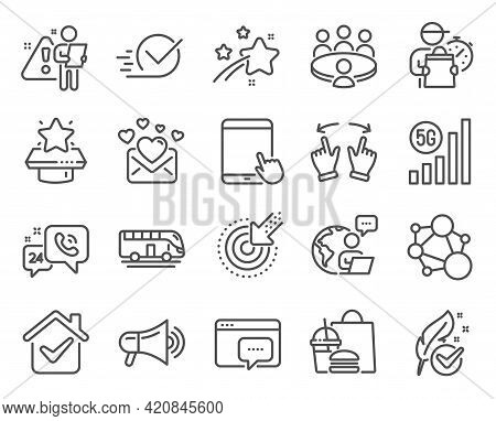 Business Icons Set. Included Icon As 5g Wifi, Hypoallergenic Tested, Megaphone Signs. Tablet Pc, Tar