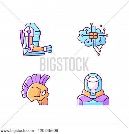 Cyberpunk Augmentations Rgb Color Icons Set. Innovative Exoskeleton. Brain Microcircuit. Skull With