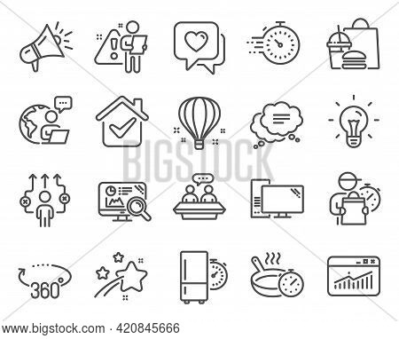 Business Icons Set. Included Icon As Heart, Computer, 360 Degrees Signs. Seo Analytics, Text Message