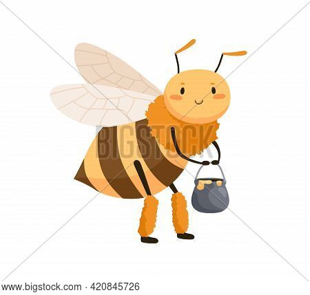Cute Smiling Bee Standing With Honey Pot In Paws. Happy Honeybee With Funny Face. Childish Colored F