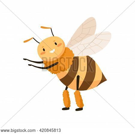Cute Happy Honey Bee Dancing And Pointing At Smth With Small Paws. Funny Adorable Smiling Honeybee.