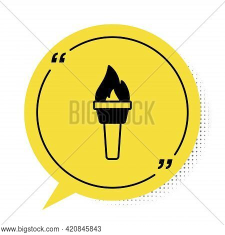 Black Torch Flame Icon Isolated On White Background. Symbol Fire Hot, Flame Power, Flaming And Heat.