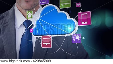 Smart devices and internet icons over a businessman, technology and corporate concepts. digitally generated image