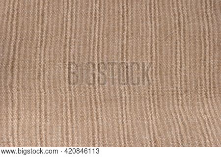 Cream Abstract Hessian Or Sackcloth Fabric Or Hemp Sack Texture Background. Green Wall Of Artistic W