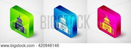 Isometric White House Icon Isolated On Grey Background. Washington Dc. Square Button. Vector