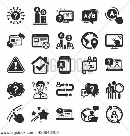 Ux Icons. Set Of Ab Testing, Journey Path Map And Question Mark Icons. Usability Quiz Test, Ux Ui An
