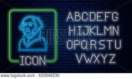 Glowing Neon George Washington Icon Isolated On Brick Wall Background. Neon Light Alphabet. Vector