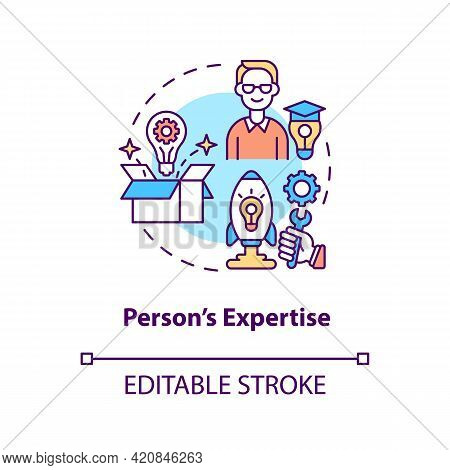 Person Expertise Concept Icon. Essential Business Knowledge. Skills Improvement. Professional Worker