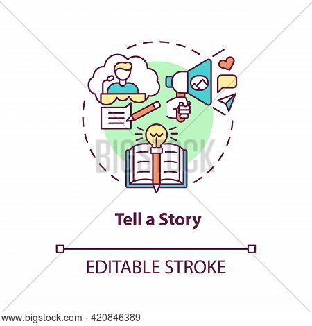 Tell Story Concept Icon. Define Your Principles. Brand Storytelling. Engaging Target Audience Idea T