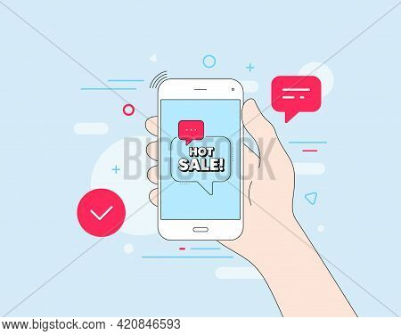 Hot Sale. Mobile Phone With Offer Message. Special Offer Price Sign. Advertising Discounts Symbol. C