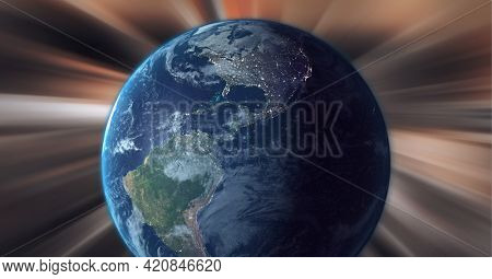 Digitally generated image of globe against light trails on brown background. global networking and technology concept