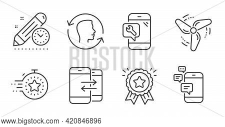 Project Deadline, Phone Repair And Loyalty Award Line Icons Set. Timer, Phone Communication And Comm