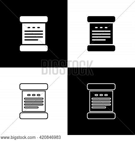 Set Declaration Of Independence Icon Isolated On Black And White Background. Vector