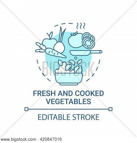 Fresh And Cooked Vegetables Concept Icon. Natural Grown Meals. Vegetarian Snacks During School Lunch