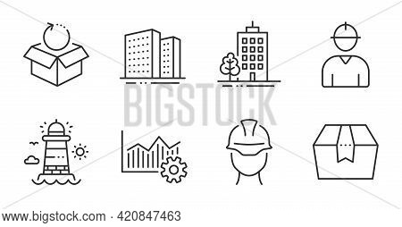 Lighthouse, Buildings And Skyscraper Buildings Line Icons Set. Engineer, Foreman And Return Package