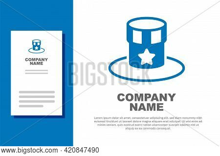 Blue Patriotic American Top Hat Icon Isolated On White Background. Uncle Sam Hat. American Hat Indep