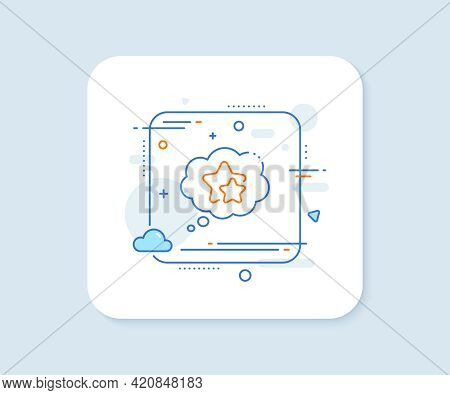 Ranking Stars Speech Bubble Line Icon. Abstract Square Vector Button. Star Rating Sign. Best Rank Sy