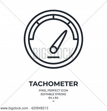 Tachometer Editable Stroke Outline Icon Isolated On White Background Flat Vector Illustration. Pixel