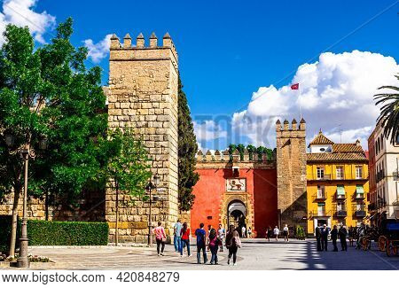 Seville, Andalusia, Spain - May 18, 2013: Entrance (lion`s Gate ) To The Palace Alcazar.
