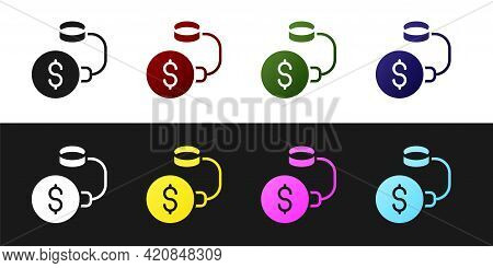 Set Debt Ball Chained To Dollar Coin Icon Isolated On Black And White Background. Big Heavy Debt Wei