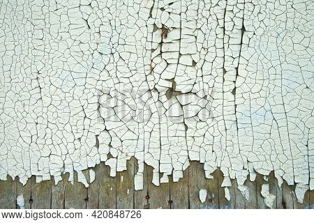 Green Peeling Paint On The Wooden Wall. Weathered Rough Painted Surface With Patterns Of Cracks And