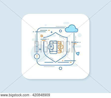 Phone Message Line Icon. Abstract Vector Button. Mobile Chat Sign. Conversation Or Sms Symbol. Smart