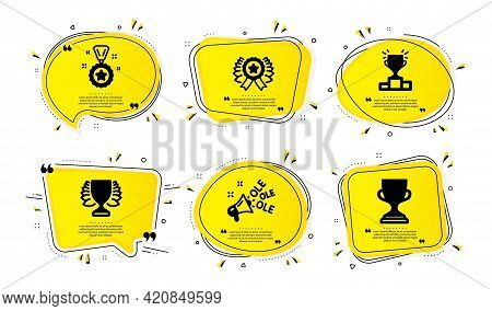 Winner, Winner Ribbon And Ole Chant Icons Simple Set. Yellow Speech Bubbles With Dotwork Effect. Awa