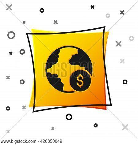 Black Global Economic Crisis Icon Isolated On White Background. World Finance Crisis. Yellow Square