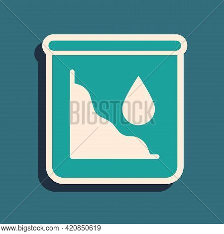 Green Drop In Crude Oil Price Icon Isolated On Green Background. Oil Industry Crisis Concept. Long S