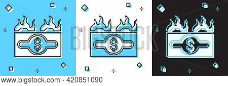 Set Burning Dollar Bill Icon Isolated On Blue And White, Black Background. Dollar Bill On Fire. Burn