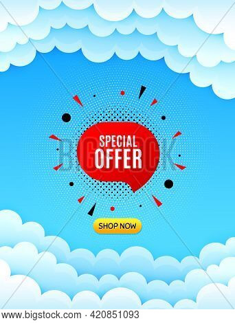 Special Offer Sticker. Cloud Sky Background With Offer Message. Discount Banner Shape. Sale Coupon B