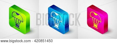 Isometric Box Flying On Parachute Icon Isolated On Grey Background. Parcel With Parachute For Shippi
