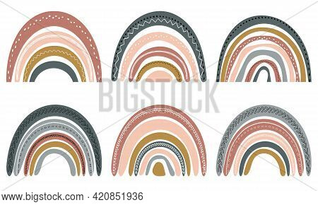 Cute Rainbows In Scandinavian Style. Watercolor Rainbow Isolated On A White Background. Pastel Color