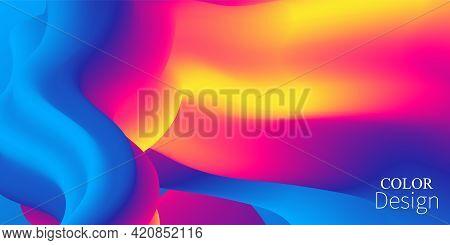 Colorful Gradient. Fluid Wave. Vibrant Color. Liquid Background.