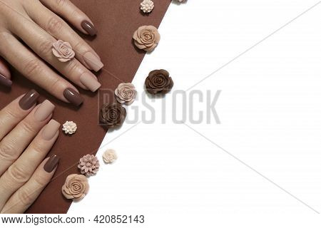 Fashionable Natural Brown And Beige Manicure On Square Shaped Nails.