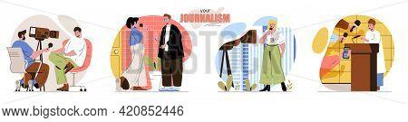 Your Journalism Concept Scenes Set. Journalists Interviewing, Reporters Reporting, News Programs, Pr
