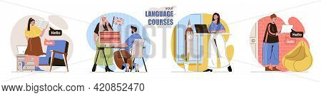 Your Language Course Concept Scenes Set. Students Learn English In Classroom, Study With Tutor, Work