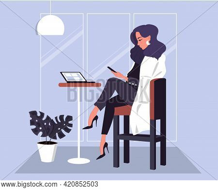 Business Classy Woman Working In Cafe With Smartphone