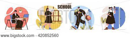 Your School Concept Scenes Set. Pupils In School Uniforms Rush To Class, Study Lessons, Do Homework.