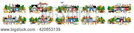 A Set Of Houses Under Construction. Collection Of Construction Sites. Transport, Equipment, Builders