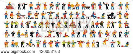 Set Of People Working In The Construction Industry. Men And Women With Professional Power Tools. Eng