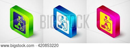 Isometric Tile Flowchart For Program Design Or Process Management Plan Icon Isolated On Grey Backgro