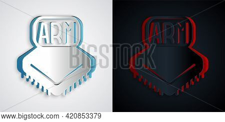 Paper Cut Processor Icon Isolated On Grey And Black Background. Cpu, Central Processing Unit, Microc