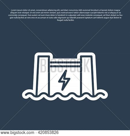 Blue Line Hydroelectric Dam Icon Isolated On Blue Background. Water Energy Plant. Hydropower. Hydroe