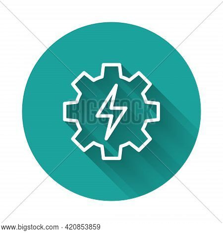 White Line Gear And Lightning Icon Isolated With Long Shadow Background. Electric Power. Lightning B