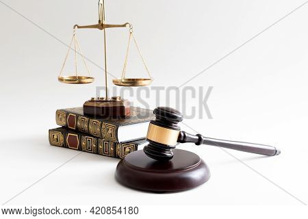 Law Concept With Wooden Gavel And Weight Scale. Lawyer, Attorney Template Background